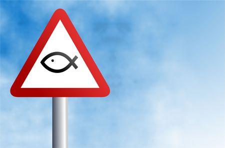 pez cristiano: una se�al de advertencia de tr�fico con un cristiano peces icono contra un cielo de fondo