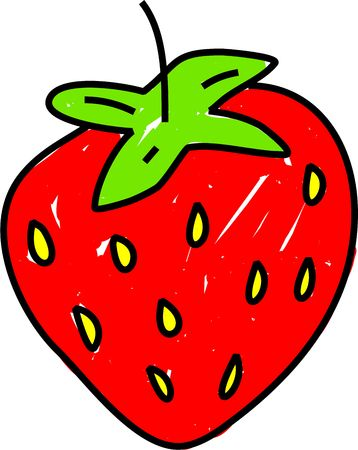 edibles: simple strawberry fruit drawing isolated on white drawn in toddler art style