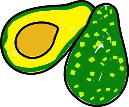 edibles: avacado sliced in two isolated on white drawn in toddler art style