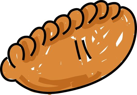 baked pasty isolated on white drawn in toddler art style Stock Photo