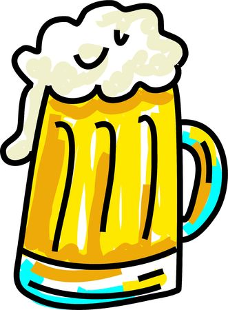 frothy: glass of frothy beer isolated on white drawn in toddler art style