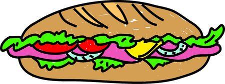ham sandwich: tasty ham salad sandwich isolated on white drawn in toddler art style