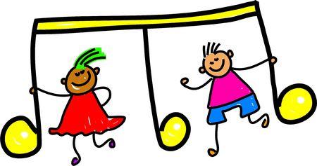 arts symbols: happy kids holding a music symbol - toddler art series