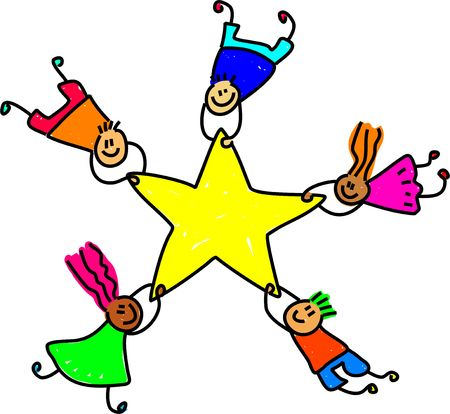 children acting: group of diverse children holding onto a giant star - toddler art series Stock Photo