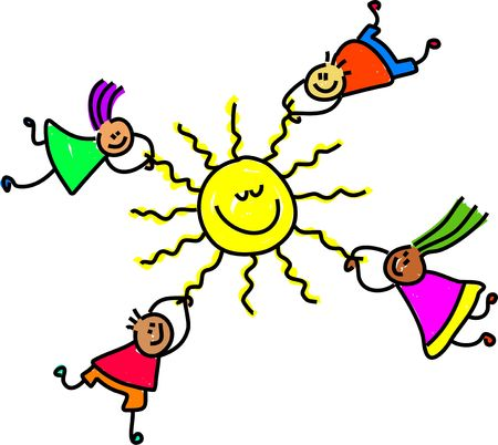 buddies: group of happy and diverse children holding onto the sun - toddler art series Stock Photo