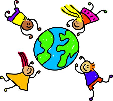happy and diverse children circling the world - toddler art series photo