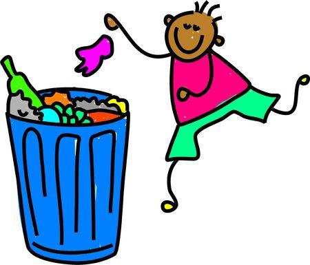 gelukkig etnische jongen te zijn vuilnis in de prullenbak - kleuter kunst serie Stockfoto