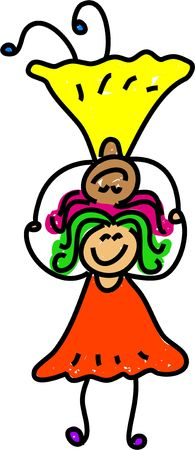 two little girls playing a balancing on heads game - toddler art series