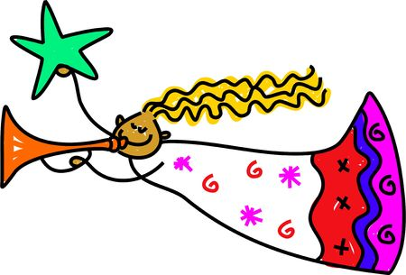 trumpet isolated: Christmas angel blowing the trumpet and holding the star drawn in toddler art style Stock Photo