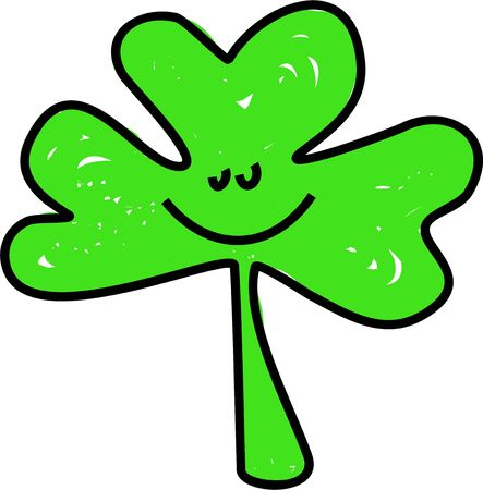 clover face: shamrock leaf with a smiley face isolated on white drawn in toddler art style Stock Photo