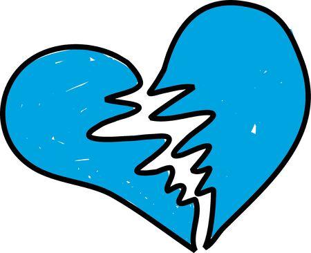 ungeliebt: gebrochen und blauen Herzen isoliert auf wei�, die Kleinkinder in modernem Stil
