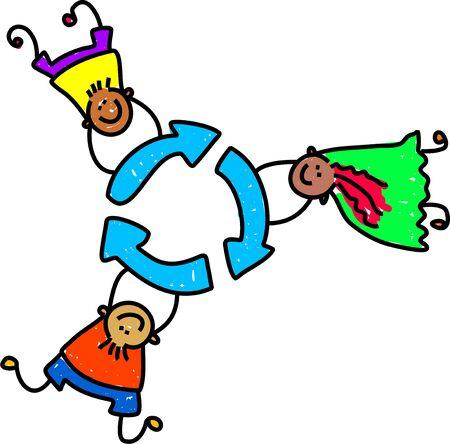 ni�os reciclando: feliz y la celebraci�n de diversos ni�os en un s�mbolo de reciclaje - ni�o arte serie  Foto de archivo