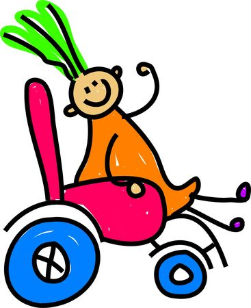 happy little disabled girl sitting in a wheelchair - toddler art series photo
