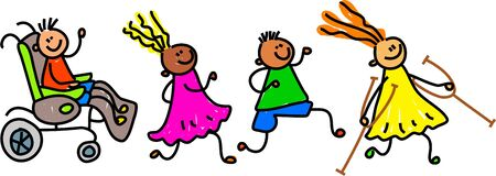 four happy diverse and disabled friends following each other - toddler art series Stock Photo