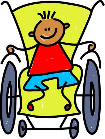 disabled: little boy in a wheelchair isolated on white - toddler art series
