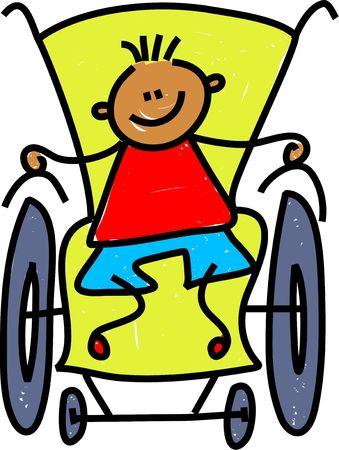 ni�os discapacitados: Ni�o peque�o en una silla de ruedas aisladas en blanco - el ni�o arte serie  Foto de archivo