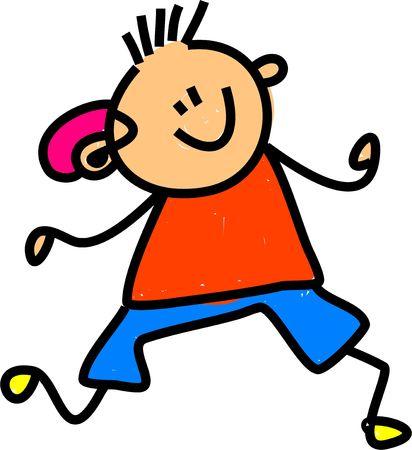 enfants handicap�s: petit gar�on portant un appareil auditif - Petite enfance art s�rie Banque d'images