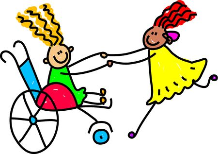toddler playing: a little girl in a wheelchair and an ethnic girl with an hearing aid playing together - toddler art series