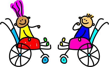 a little disabled boy and girl making friends - toddler art series Stock Photo