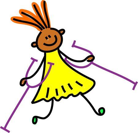 personas discapacitadas: Étnica chica discapacitada con muletas - andarín arte serie