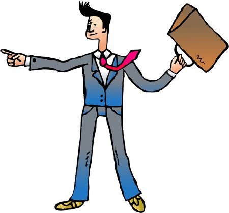 argumentative: lively business executive pointing and swinging his briefcase around