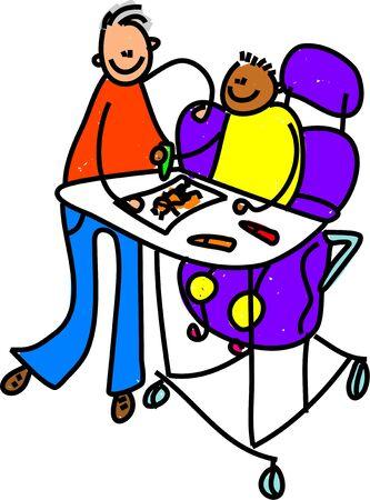 nursery education: muchacho en la recuperaci�n y el aprendizaje de habilidades de dibujo - ni�o arte serie  Foto de archivo