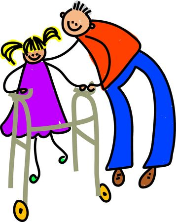 carer: little girl learning to walk with the aid of a walking frame - toddler art series