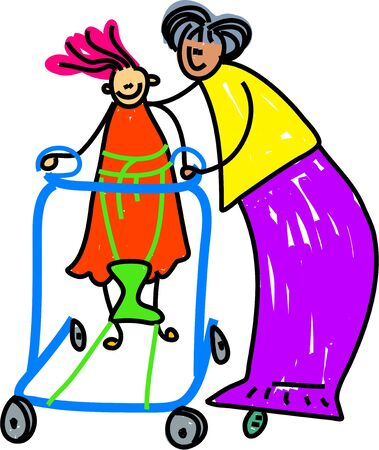 child safety: little girl with special needs learning to walk with the aid of a walking frame and therapist - toddler art series