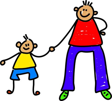 dad and son: happy little boy holding his fathers hand - toddler art series