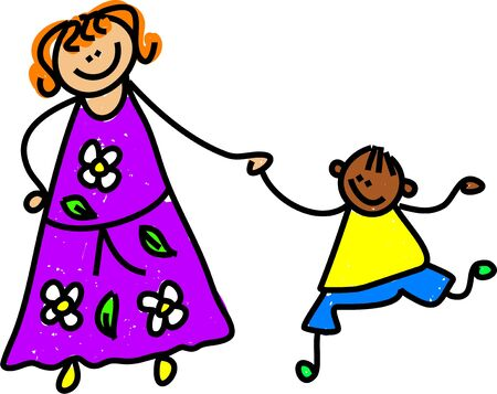 mixed family: caucasian mother holding hands with ethnic son - toddler art series Stock Photo