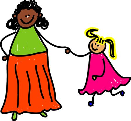 mixed race girl: ethnic mother holding hands with caucasian child - toddler art series Stock Photo