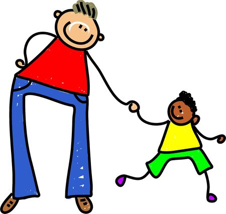 mixed race children: happy caucasian father holding hands with ethnic son - toddler art series