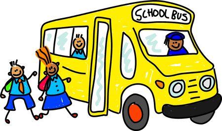 children getting onto school bus - toddler art series