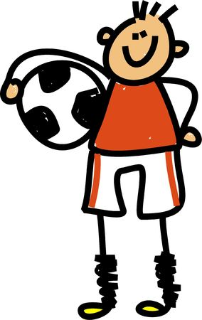 kids football: Happy little boy holding a soccer ball under his arm - toddler art series