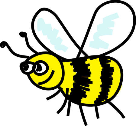 cartoon busy bee isolated on white drawn in toddler art style