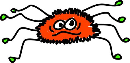 cartoon hairy spider isolated on white drawn in toddler art style