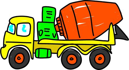 concrete mixer truck: concrete cement mixer isolated on white drawn in toddler art style Stock Photo