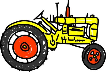 yellow tractor: yellow tractor isolated on white drawn in toddler art style