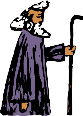 oap: rough style drawing of a prophet from the bible, maybe Moses Stock Photo