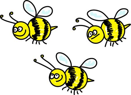 swarm of busy bumble bees - animal art series
