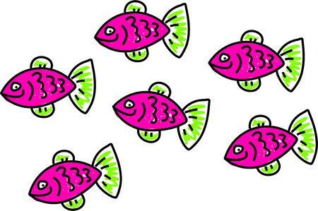 shoal: shoal of pink fish - animal art series