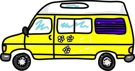 campervan: yellow campervan with daisies isolated on white - bus art series