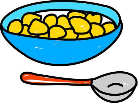 bowl of cornflakes isolated on white - food art series Stok Fotoğraf