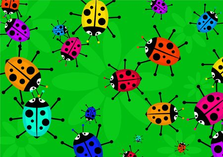 arthropods: swarm of cute and colourful ladybug beetles forming a wallpaper background design