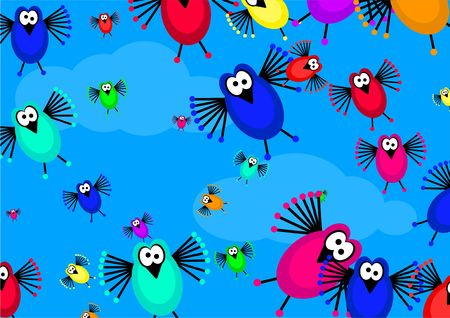 cartoon flock of birds flying in the sky forming a cute wallpaper background design photo