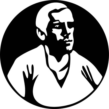 suave: black and white graphic of a suave looking man - male portrait icon series
