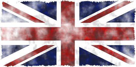 연합 왕국: stained, patchy and dirty grunge flag of the United Kingdom with ragged edges 스톡 사진