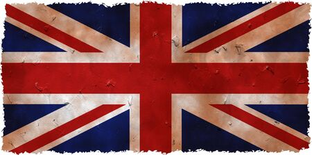 patchy: stained and dirty grunge flag of the United Kingdom with ragged edges