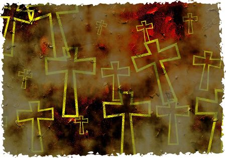 artistic grunge textured parched cross background design with ragged edges - made to look old and worn