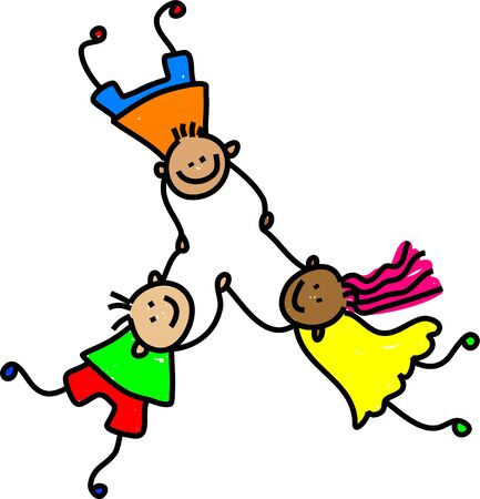 kids holding hands: diverse and happy united kids holding hands - toddler art series